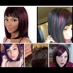 Black and Burgundy Red Bob Wig